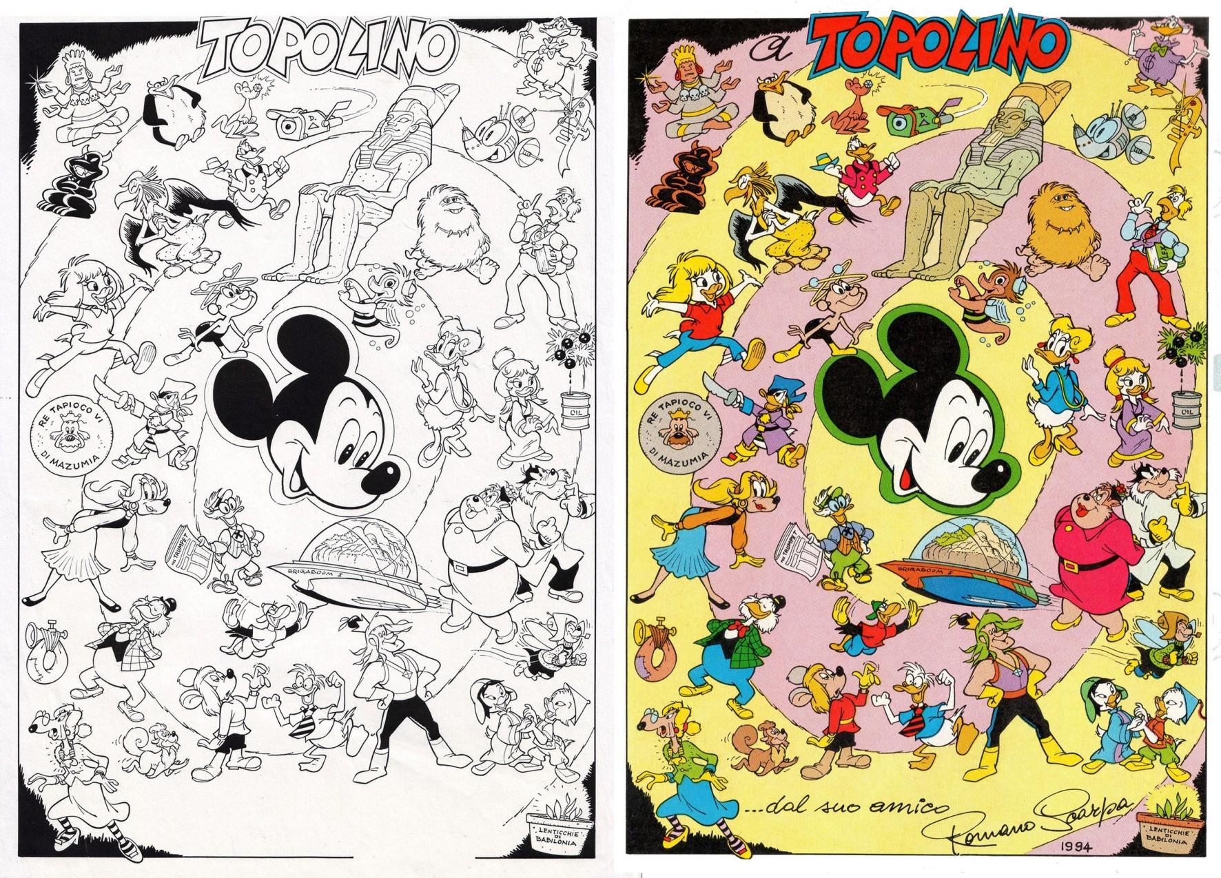 Topolino n. 2000 - Tutti i personaggi di Scarpa - - pagina pubblicata e originale a confronto